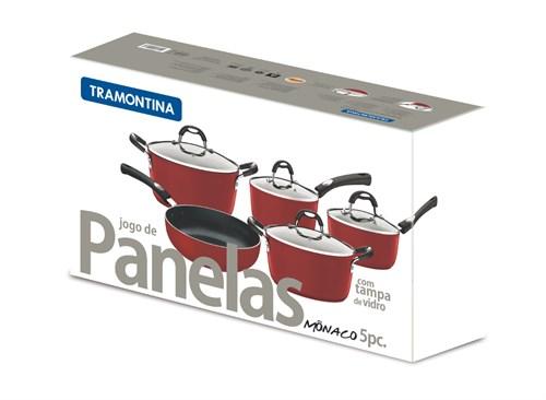 Jogo de Panelas Monaco Vermelho 5 pçs Tramontina - 20899/750
