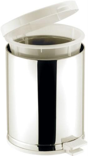 Lixeira Inox com Pedal e Tampa Plástica Branca 10 Litros Viel - 3565