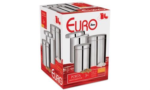Jogo para Mantimentos Inox com Tampa 3 peças Euro - 5224