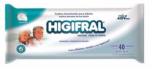 Toalhas Umedecidas Higifral c/ 40 unidades
