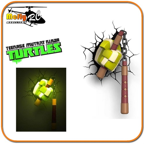 Luminaria 3D Light Tartaruga NinjaArma Michelangelo com LED, Turtles