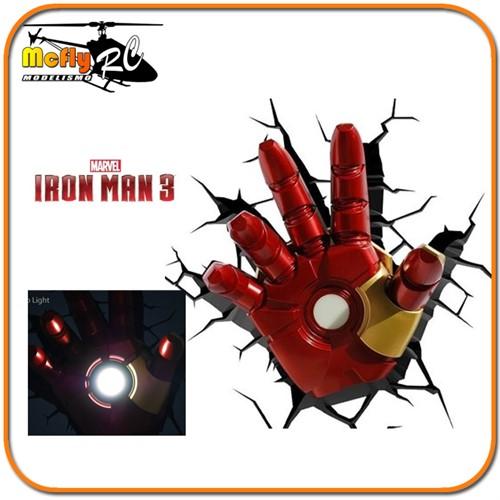 Luminaria 3D Light Iron Man Mão com Led, Hand Homem de Ferro