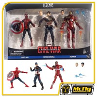 Marvel Legends Captain America Iron Man Spiderman Civil War 3 Pack Figure Set