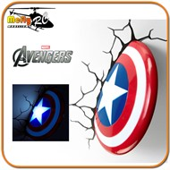 Luminaria 3D Light Captain America Avengers com Led Capitao
