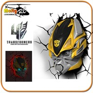 Luminaria 3D Light Transformers Bumblebee Autoboots com Led