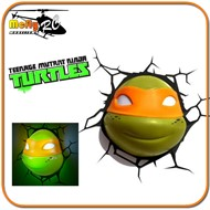 Luminaria 3D Light Tartaruga Ninja Michelangelo com LED, Turtles