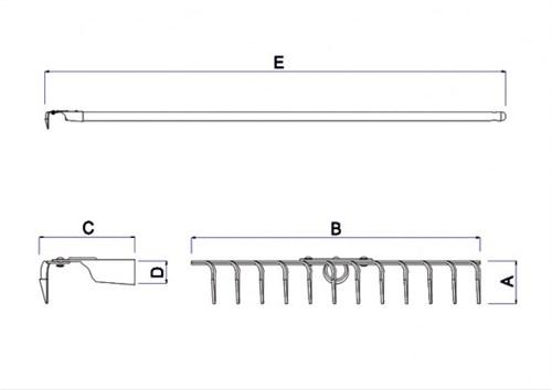Ancinho Tramontina 12 Dentes Estamp c/ Cabo 120cm - 77111/624