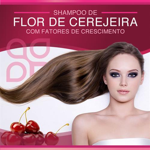 Shampoo de flor de cerejeira com fatores de crescimento