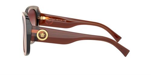 Versace 4378 - Armação Acetato Marrom Translúcido, Lentes Rosa Degradê - 53240p