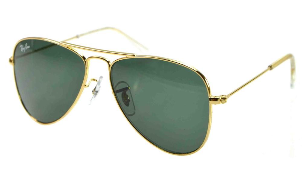 fbd6203398aba Ray Ban Júnior Aviador - INFANTIL - 9506S - Armação Dourado Lentes Verde  G15 - 223