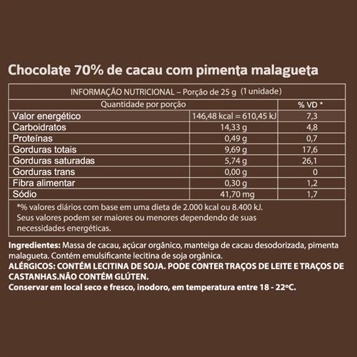 Mendoá com Pimenta 70% - 25g