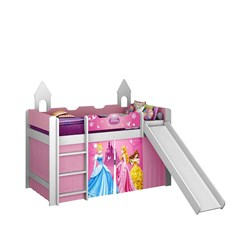 Cama Princesas Disney Play com Escorregador e Cortina
