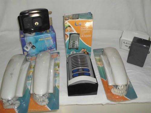 Kit Porteiro eletronico 03 interfones + monofone externo + fechadura eletrica + fonte alimentação LIDER