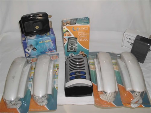 Kit Porteiro eletronico 04  interfones + monofone externo + fechadura eletrica + fonte alimentação LIDER
