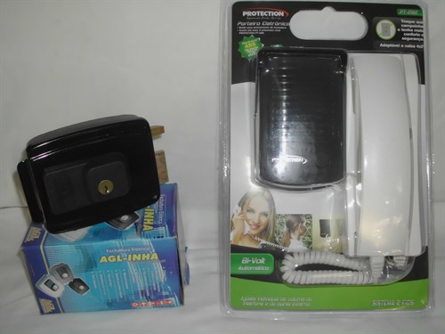 KIT Porteiro eletronico 01 interfone interno + 1 monofone externo viva voz + fechadura eletrica LIDER