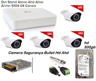 Kit Cftv 4 cameras AHD + Dvr stand alone alive + HD