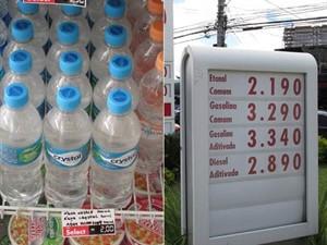 Litro da água mineral é mais caro que o da gasolina...