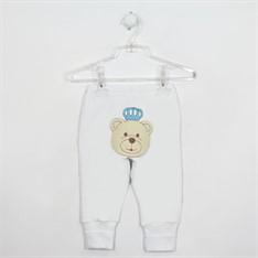 Mijão bebê branco masculino pé reversível com bordado de urso no bumbum.
