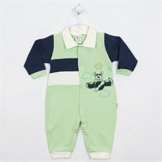 Macacão bebê masculino longo suedine verde.