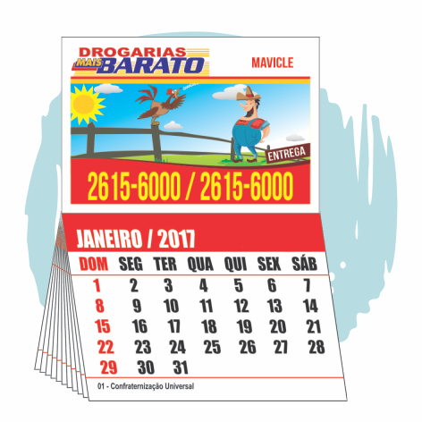 Imãs de Geladeira 50.000 UNIDS. R$0,215 (cada)PROMOCIONAL 7x5cm com Calendário 7x5cm