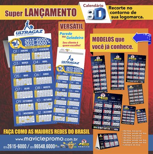 Calendários 3D Especial 1.000 unids. R$0,71