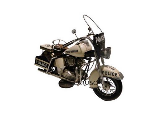 Miniatura Moto 1976 Harley Davidson Branca Policia