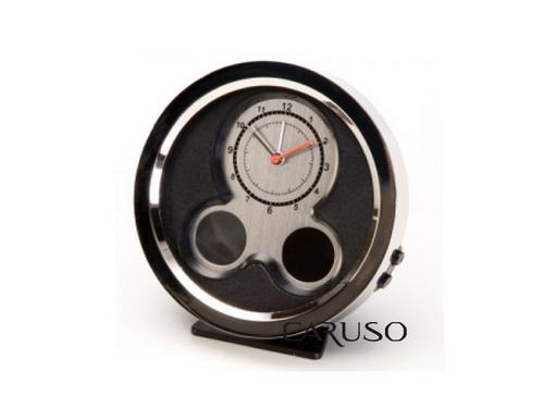 Relógio de Mesa Cromado Analogico/Digital Preto