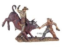 Cowboy Touro e Palhaço Rodeio Resina