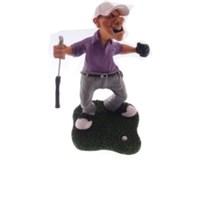 Caricatura jogador de golf torcendo