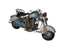 Miniatura Moto Antiga Branca e Azul