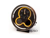 Relógio de Mesa Cromado Analógico/Digital Amarelo