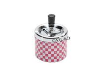 Cinzeiro de mesa alumínio com estampa de xadrez em vermelho