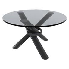 Mesa de canto com base preta e tampo de vidro cristal