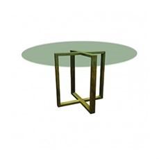 Mesa de ferro redonda com tampo de vidro