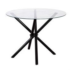 Mesa redonda preta com tampo de vidro ou madeira