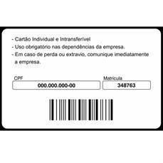 Credenciamento com código de barras em cartão PVC