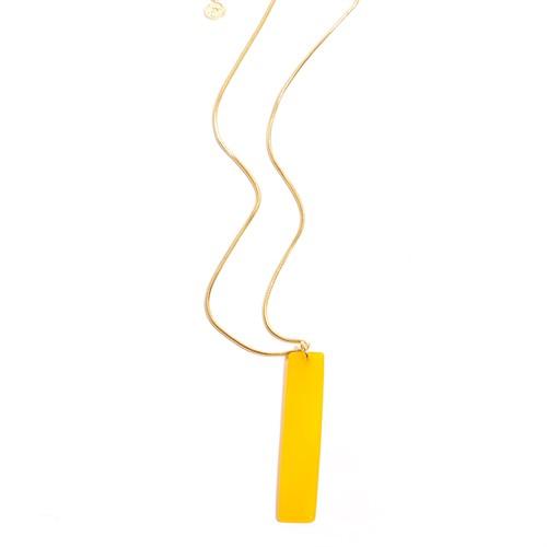 EPS.279.AA Colar longo filetão de pedra Agata amarela e metais banhados a ouro
