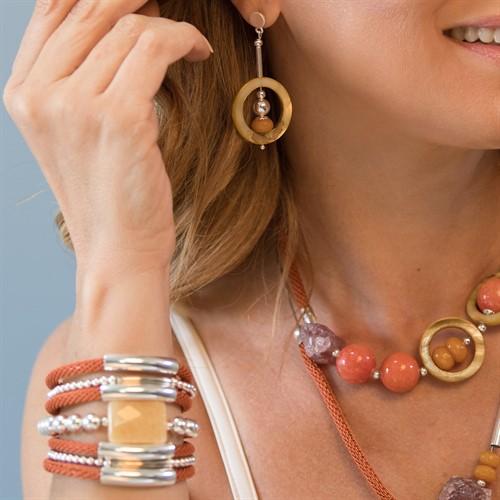 JC.BCT13 bracelete Jade mel, metais banhados a prata e malha laranja