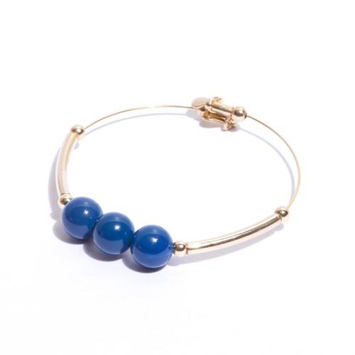 EPP.6.A.O Pulseira aro pedras Agata azul e metais banhados a ouro