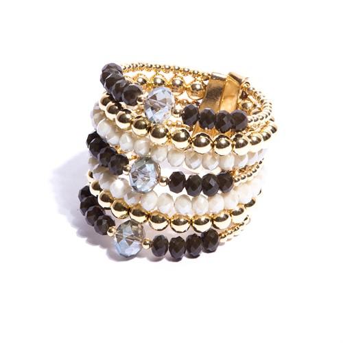 CT.BCT6 Bracelete cristais verdes e off e metais banhados a ouro