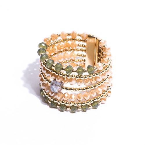 CT.BCT9 bracelete luxo cristais verde e caramelo e metais banhados a ouro