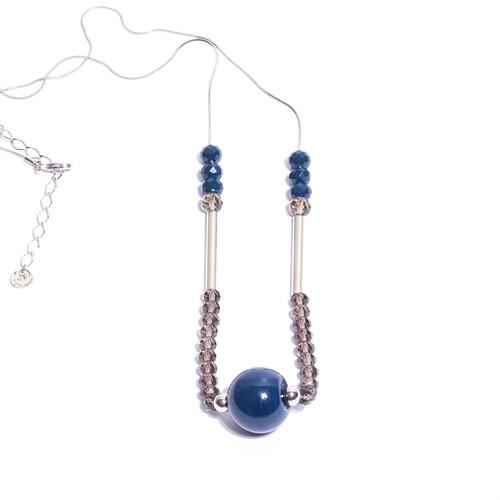 CT.C5 Colar longo cristais azuis e fume; esfera de murano e metais banhados a paladio