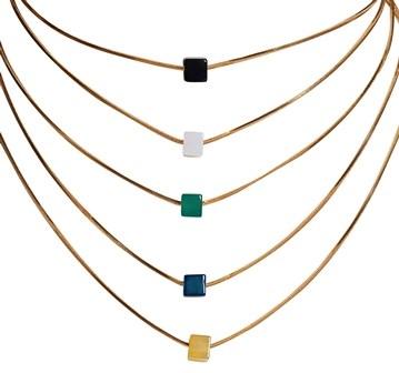 EPS.193 (opções de cores) Conjunto de Colar e Pulseira de Cubinhos de Pedra Ágata.