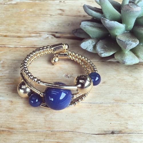 EPP.3.O (azul) Puls bracelete pedras Ágata azul e metais banhados a ouro