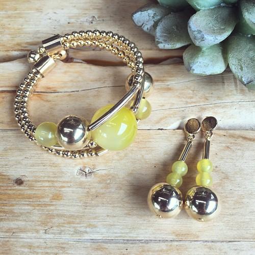 EPP.3.O (amarela) Puls bracelete pedras Ágata amarela e metais banhados a ouro
