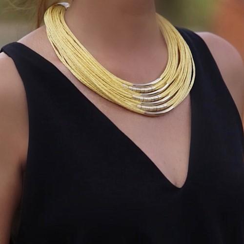 LRL.C20 Colar golden fibras naturais e metais banhados a ouro e/ou grafite e/ou paládio