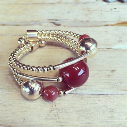 EPP.3.O (marrom) Puls bracelete pedras Ágata marrom e metais banhados a ouro