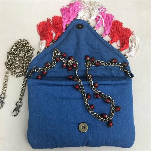 clutch12 azul com bordados especiais e duas alças (p)