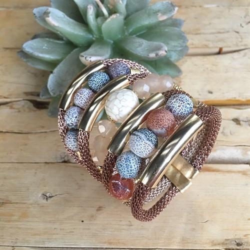 BCT.X105 Bracelete Pedra Ágata esponja, Pedra Howlita, Cristais e metais banhados a ouro