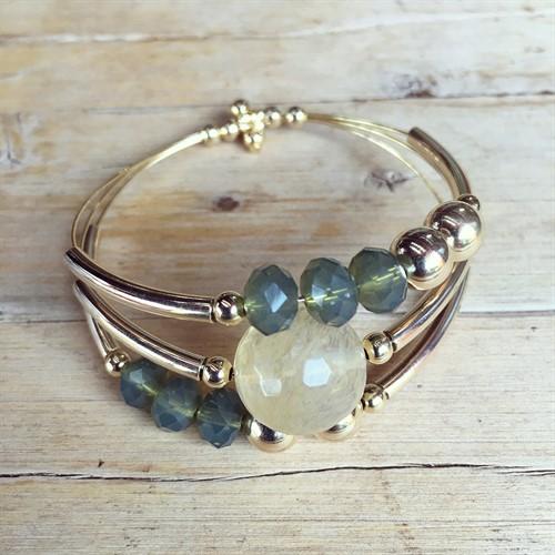 P.X124.1 (verde) Pulseira Cristais, Pedra Quartzo Rutilo, metais banhados a ouro